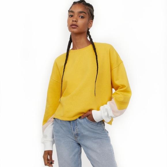 Yellow Tri Color Sleeve Sweatshirt